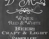 Bar Drinks Menu Sign Beer Wine Alchohol Specials Vintage Chalkboard Wedding Invitation Birthday Party Bridal or Baby Shower Digital