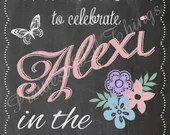 Shabby Chic Vintage Chalkboard Garden Party Welcome Sign Girls Birthday Party Bridal or Baby Shower Wedding Digital File