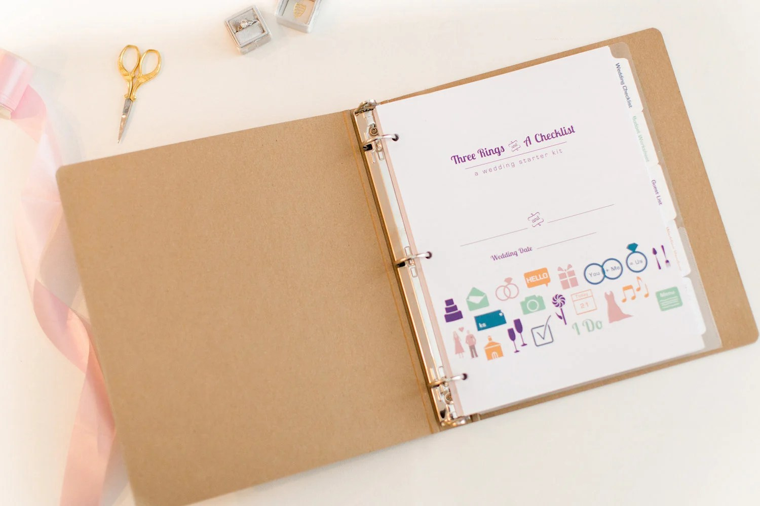 Wedding Planner Three Rings And A Checklist 3 Ring Binder