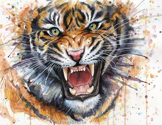 Tiger Art Print Tiger Watercolor Painting Roaring Tiger