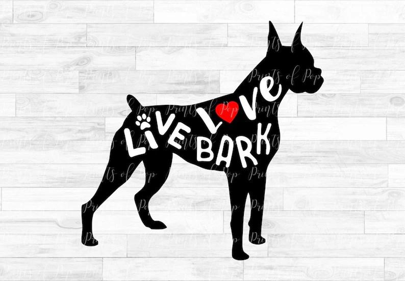 Download Boxer svg Live Love Bark Boxer Dog Clip Art Sublimation   Etsy