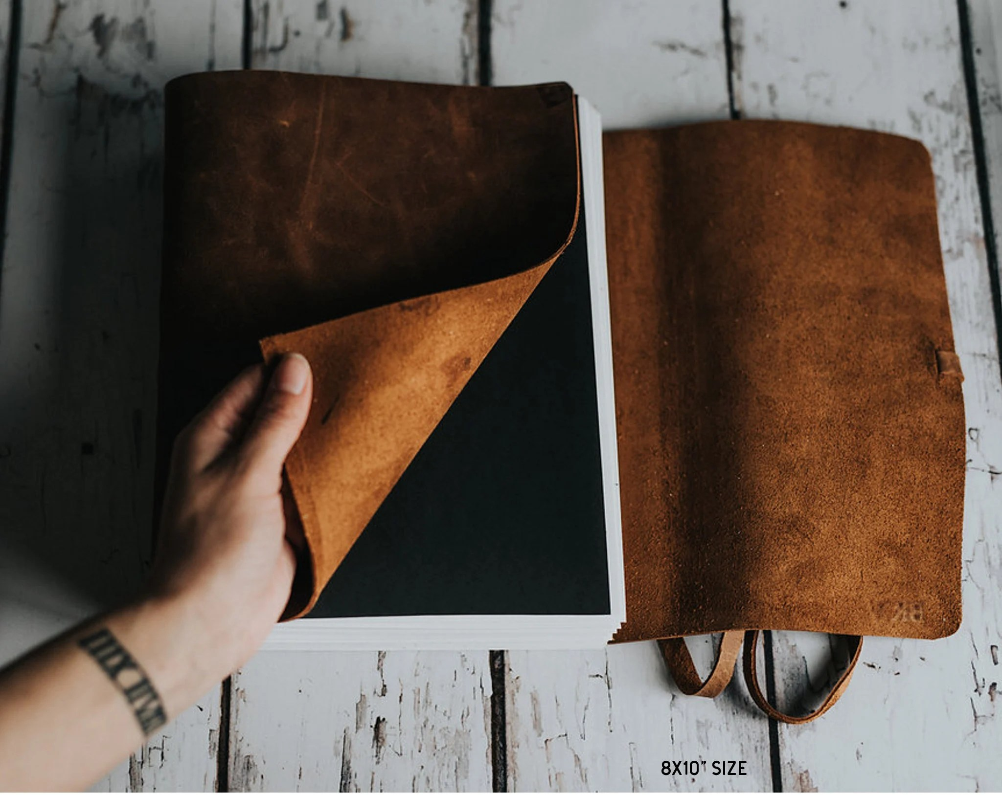 Personalized leather book Leather sketchbook Large blank image 2
