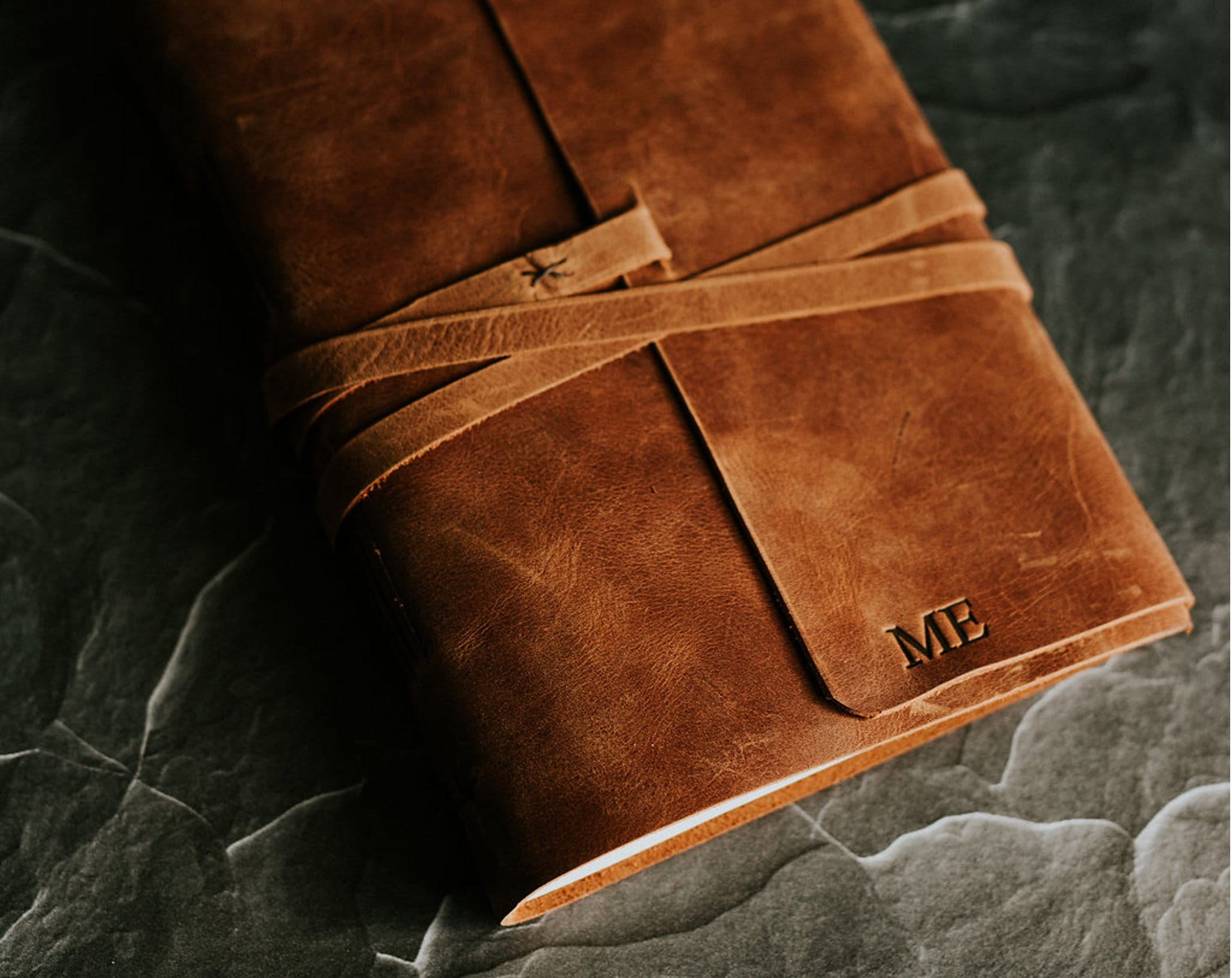 Personalized leather book Leather sketchbook Large blank image 4