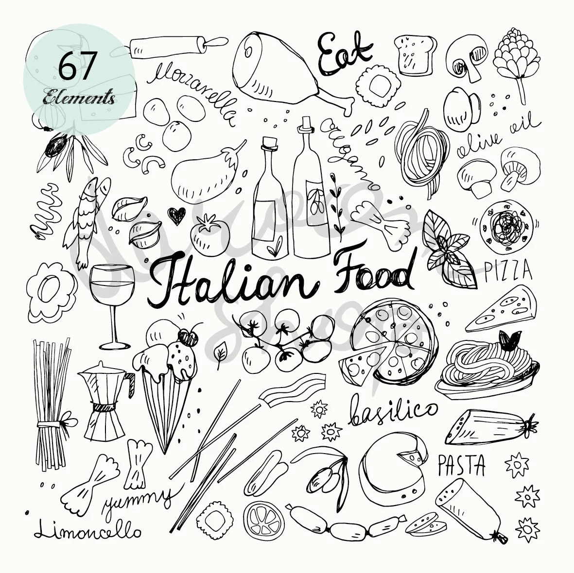 Hand Drawn Italian Food Doodles Clip Art Set Vector Eps
