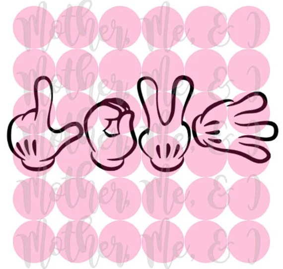 Download Love Mickey Hands / Disney / Sign Language / Mouse SVG DXF ...