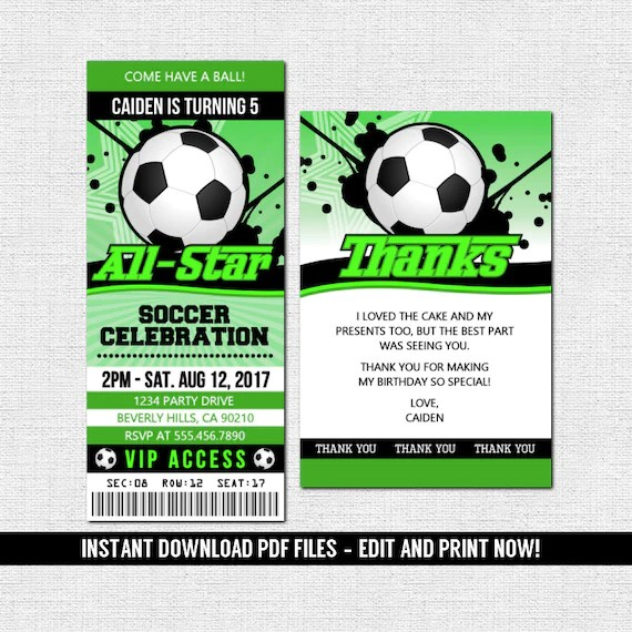 soccer football ticket invitations birthday party instant download editable and printable pdf files bonus thank you card