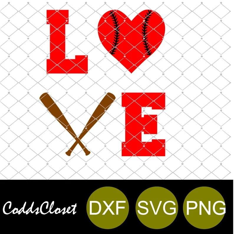 Download Love Baseball Bat Heart Svg Png and SVG DxF File Instant ...