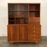 Amazing Keller Mid Century Modern Credenza With China Cabinet Display Case