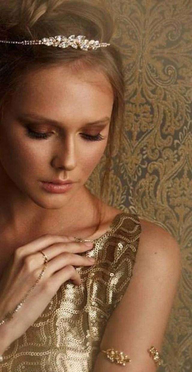 euphoria- golden & crystal hair garland