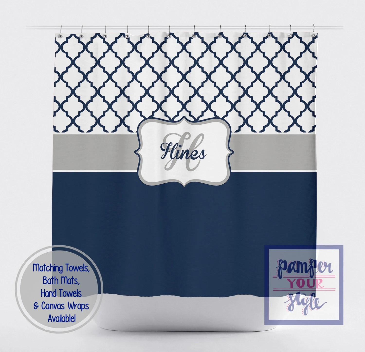 moroccan navy blue and white shower curtain navy blue personalized shower curtain ornamental monogrammed shower curtain