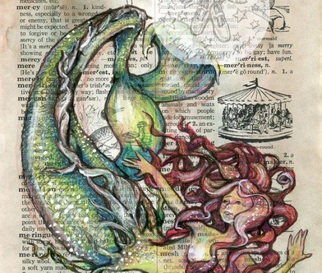 Print Mermaid Mixed Media Drawing On Antique Dictionary Page Etsy