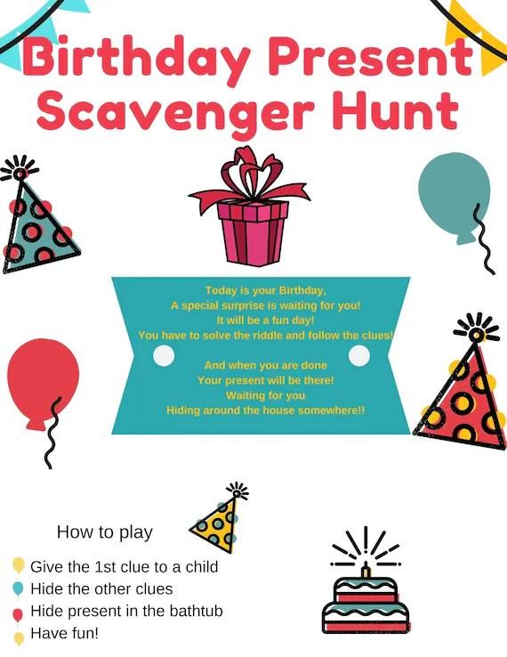Birthday Scavenger Hunt Riddles Etsy