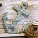 Anchor With Heart And Rope Nautical Beach Wood Wall