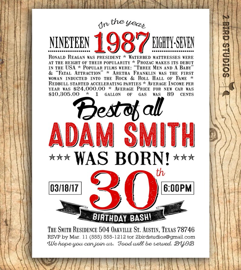 30th Birthday Party Invitations For Him