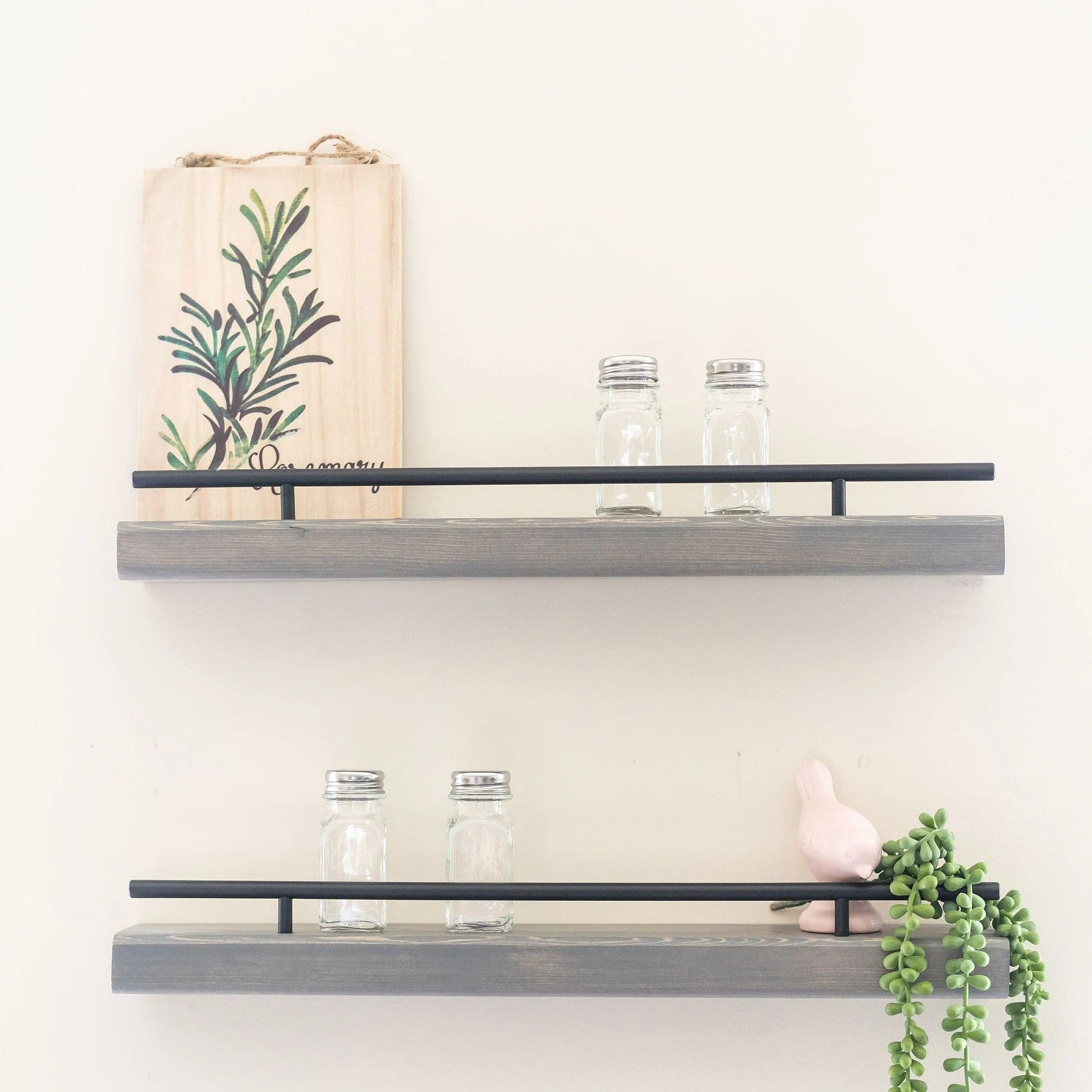 wall mounted spice rack floating shelf for spices kitchen etsy