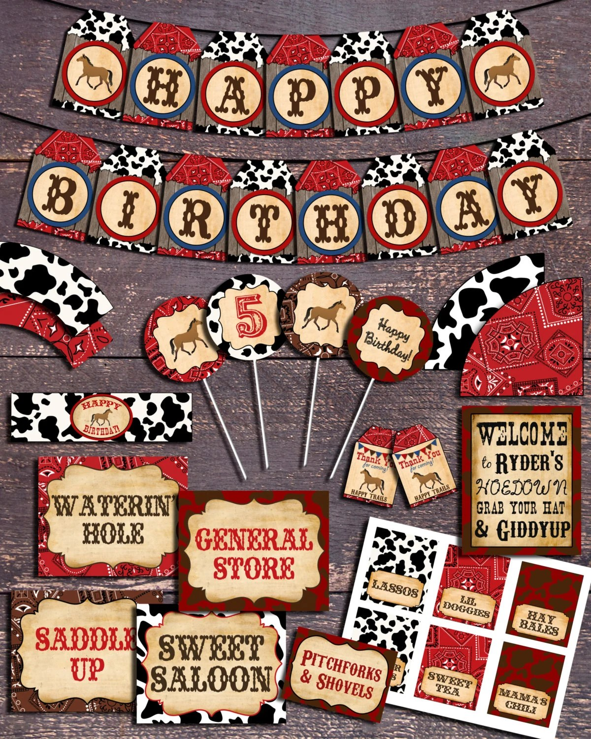 Western Theme Party Printable Western Party Decorations Etsy