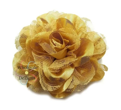 Gold flowers   Etsy Gold Flower Chiffon and Lace   Metallic Shabby Chic 4  Full and Fluffy    Large DIY Headband Hair Clip