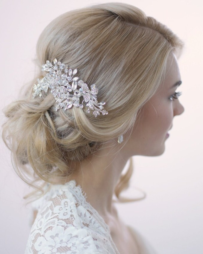 swarovski crystal hair clip, silver hair clip, bridal hair comb, crystal bridal clip, hair clip for wedding, bridal hair accessory ~tc-2265