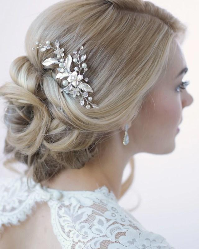 floral bridal hair clip, bridal hair accessory, pearl & rhinestone bridal clip, floral wedding hair comb, pearl wedding hair clip ~tc-2276