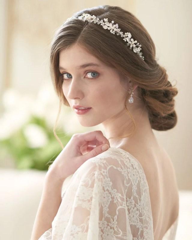 pearl & crystal bridal headband, wedding headpiece, bridal hair accessories, pearl wedding headband, pearl headband ~ti-3368 adela