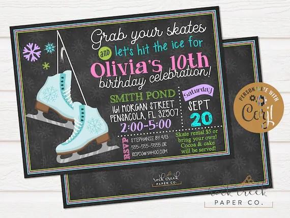 Ice Skating Birthday Invitation Skating Rink Party Ice Etsy