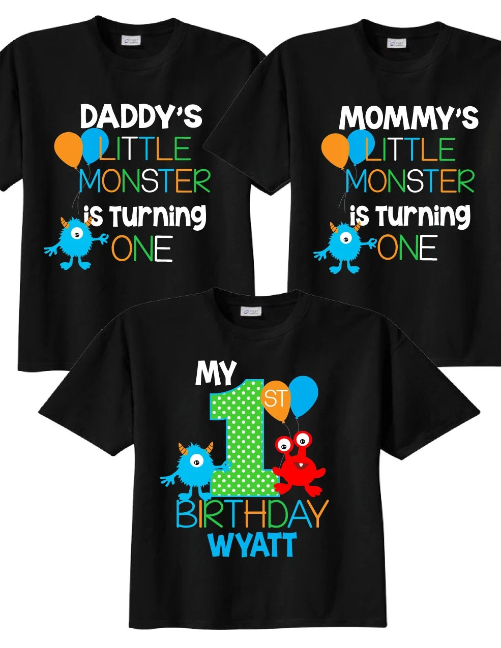 3 Shirt Set For 1st Birthday Shirts With Monsters Family Etsy