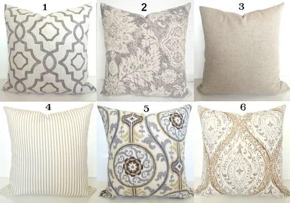 gray pillows grey throw pillow covers tan pillows grey decorative throw pillow covers tan grey pillows 16 18x18 20 all sizes home decor