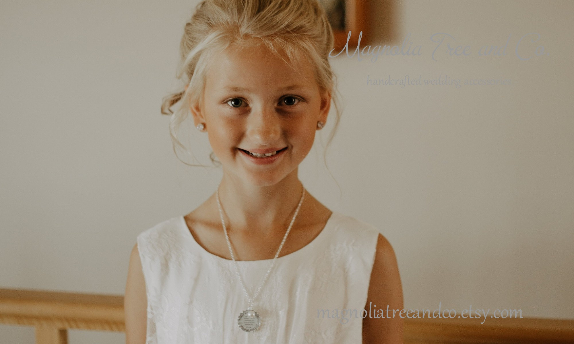Flower Girl Necklace Bridesmaid Necklace Personalized Bridal image 5
