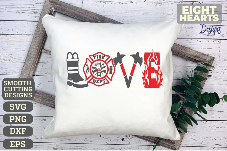 Download Firefighter Love svg png dxf eps. Cutting crafting   Etsy