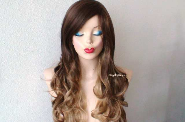ombre wig. brown dirty blonde long curly wig with side bangs. heat friendly synthetic wig. custom wig. cosplay