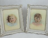 Antique 1890s Pair of Color Family Child Miniature Paintings