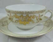 1930s Vintage Noritake Gold Moriage Yellow and White Teacup and Saucer Tea Cup - 5 Available