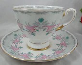 1950s Hand Painted Tuscan Bone China Teacup English Bone China English Teacup and Saucer with Enamel Accents Stunning English Tea Cup