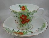 1930s Hand Painted Vintage Stanley Potteries English Bone China Teacup Pretty English Tea Cup and Saucer set