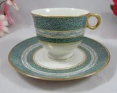 Vintage Theodore Haviland New York Green Mosaic Cappuccino Demitasse Teacup and Saucer 4 available American Tea Cup