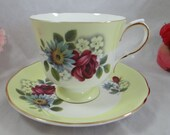 Vintage Duchess English Bone China Teacup Roses Yellow English Teacup and Saucer Tea Cup