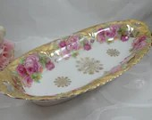 1930s Vintage Antique German Pink Rose and Gold Oval Serving Dish or Bowl - Stunning