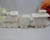 Vintage Ceramic Steam Train and Caboose Salt and Pepper Shakers