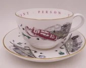"""Vintage Royal Worcester English Bone China """"A Very Important Person"""" Jumbo Golfing Tea Cup and Saucer Set Large Oversize English Teacup"""