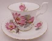 Vintage Royal Albert English Bone China English Red Floral Teacup and Saucer Set Delightful English Tea Cup