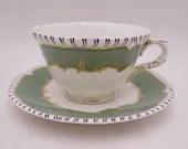 "Rare Vintage Royal Worcester English Bone China ""Pillament"" Green Teacup and Saucer Set - Elegant English Tea Cup - 7 Available"