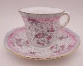 Vintage Hand Painted Royal Grafton English Bone China Demitasse Cappuccino Espresso Teacup and Saucer Set Charming English Tea Cup 8074