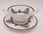 """1925 Vintage Royal Worcester English Bone China """"Doncaster' Cream Soup Bouillon Bowls with Saucers - 8 Available"""