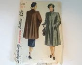 Vintage Simplicity #2232 Women's Oversize Coat Jacket Sewing Pattern a Bust 38 Hip 31 - Cut but Complete
