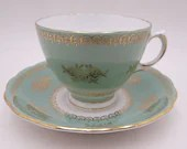 Vintage 1960s Colclough English Bone China Green and Gold Teacup and Saucer Set Pretty Green Tea Cup