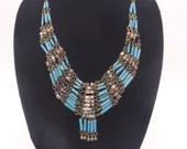 Vintage Southwest Style Faux Turquoise Blue and Brown Bead Necklace - Pretty Southwest Style Necklace
