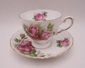 "1950s Tuscan Bone China Teacup English Bone China ""Moss Rose""  English Teacup and Saucer Set"