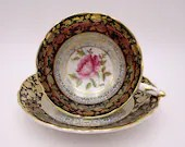 1940s Spectacular Paragon Fine English Bone China  Blue and Gold Floral Teacup and Saucer Beautiful Tea Cup A1329