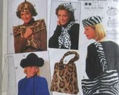 Burda  #3360 Fashion Accessory Pattern for Hats Scarfs Muff and Bag Pattern a Woman's Muff Scarf Hat Tote Pattern Uncut Unused