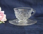 Fostoria American Clear Glass Teacup and Saucer Vintage Fostoria Glass Tea Cup and Saucer - 2 Available